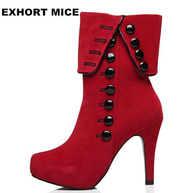 Fashion Women Boots 2017 High Heels Ankle Boots Platform Shoes Brand Women Shoes Autumn Winter Snow