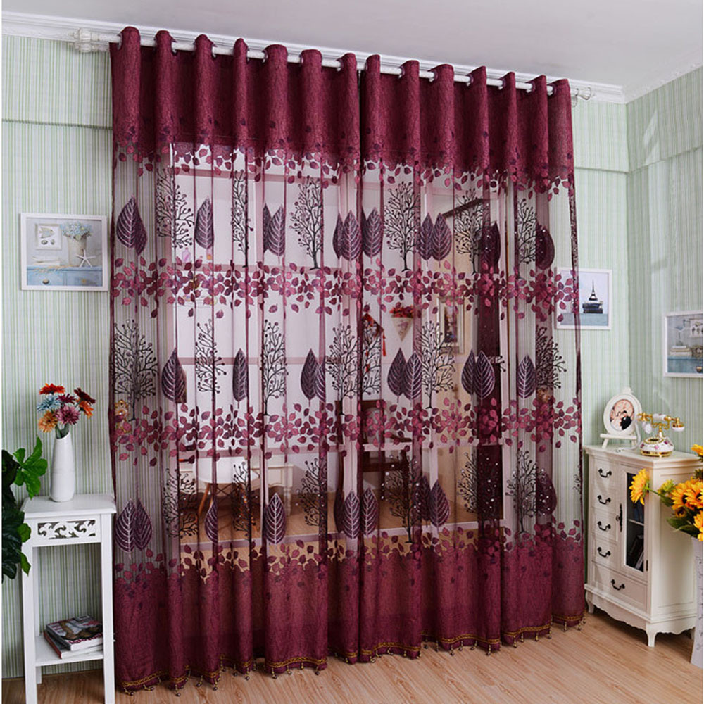 New Leaf Hollow Window Screens Door Balcony Curtain Panel Sheer Cover Best  Price For Floral Drape Panel Sheer Scarf Valance In Blinds, Shades U0026  Shutters ...