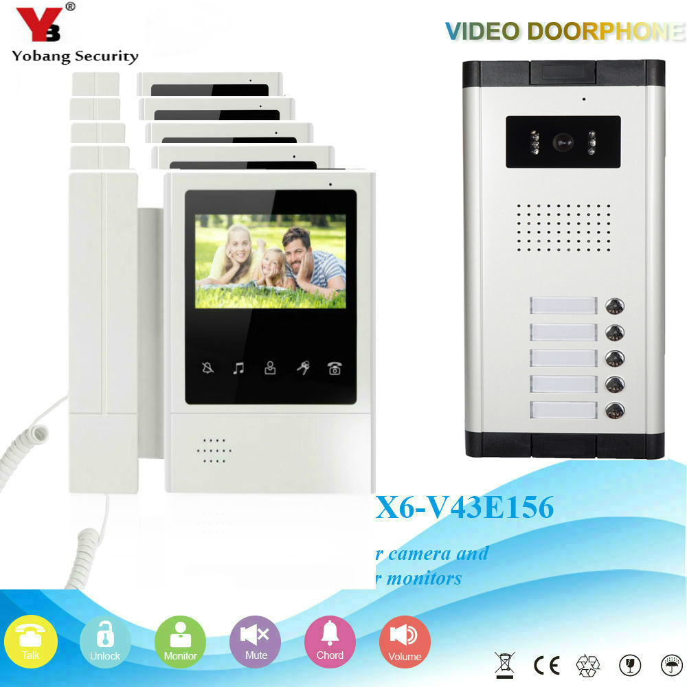 YobangSecurity 5 Units Apartment Video Intercom 4.3 Inch Color LCD Video Door Phone Doorbell Intercom IR Camera Monitor System yobangsecurity 5 units apartment video intercom 7 inch lcd wifi wireless video door phone doorbell video recording app control