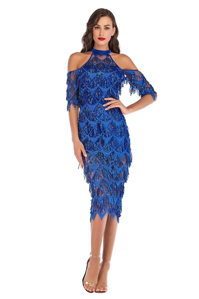 Elegant Halter Neck Off Shoulder Tassel Sequin Dress