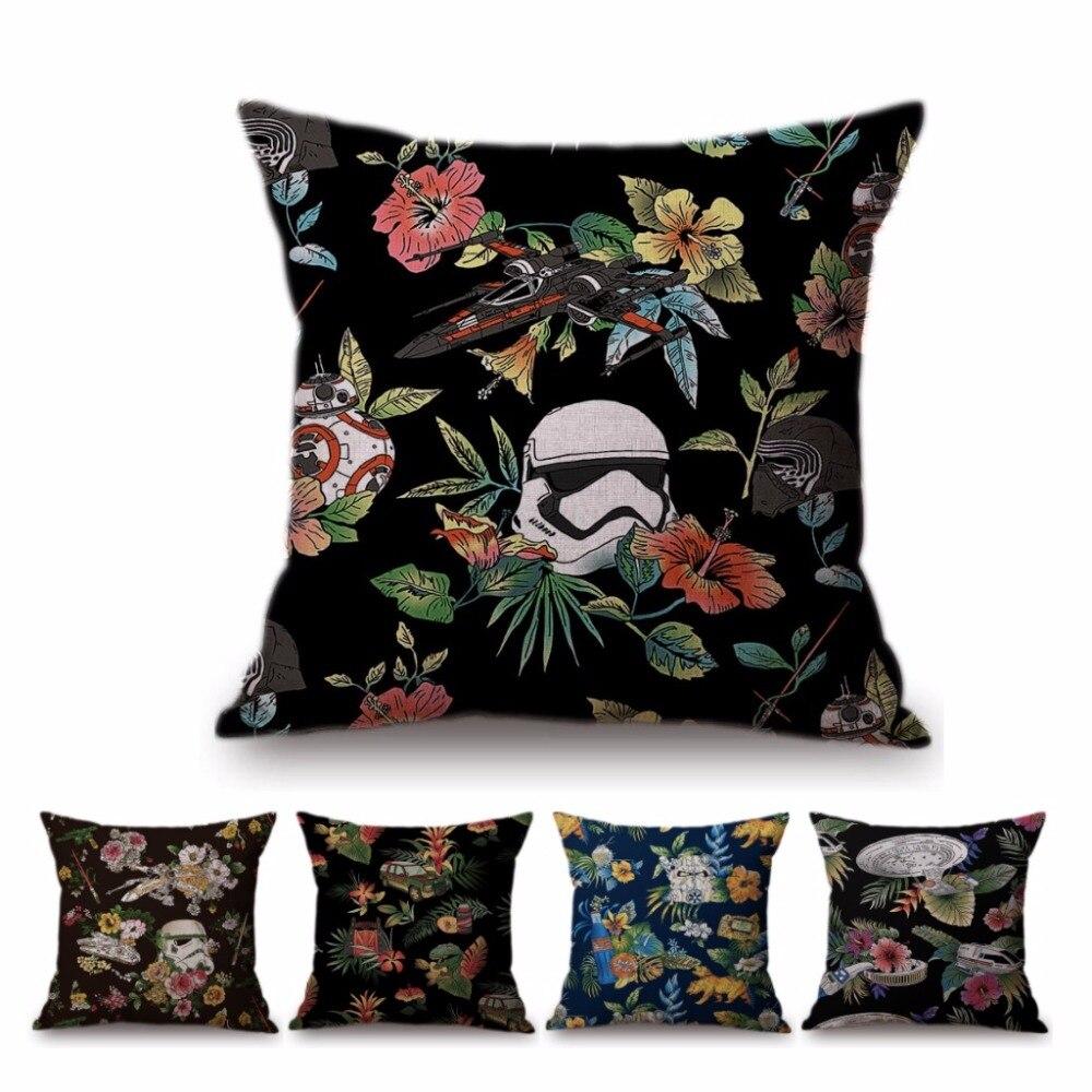Тропических растений цветочные звезды войны Штурмовик дома декоративные диван Бросьте Чехол черные цветы Клон Trooper наволочки