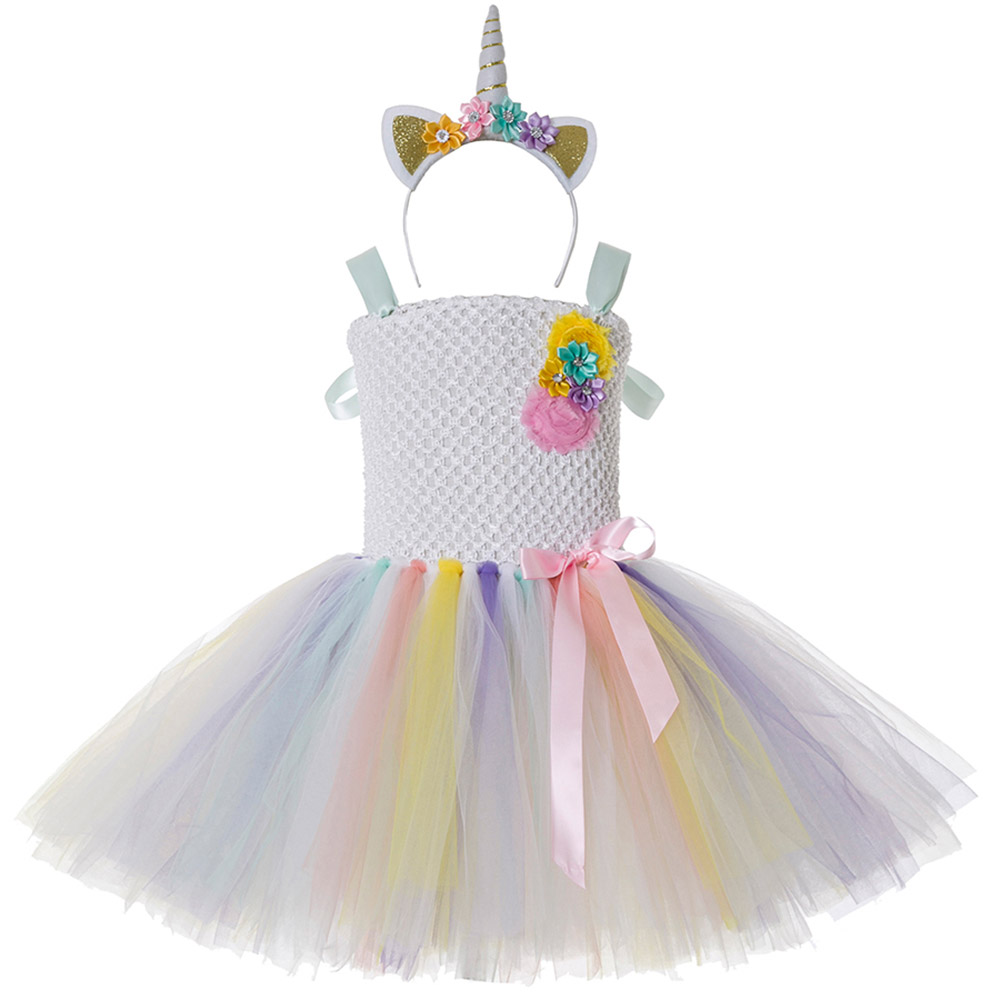 f1598838cc238 US $12.82 45% OFF|Baby Girl Tutu Dress Little Pony Unicorn Dress Headband  Christmas Halloween Costume Children Girls Party Dresses 2 14 Years-in ...