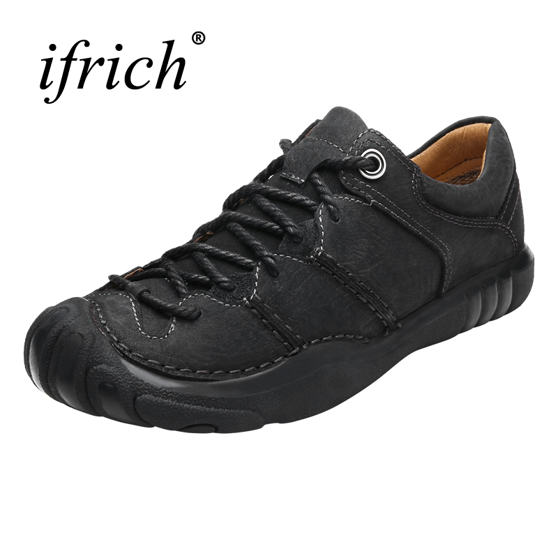 2017 New Mens Hiking Shoes Genuine Leather Outdoor Trekking Sneakers Comfortable Muntain Climbing Boots Black Brown Trainers Men winter warm shoes mens high top hiking shoes athletics outdoor plush ankle boots men sports shoes comfortable climbing sneakers