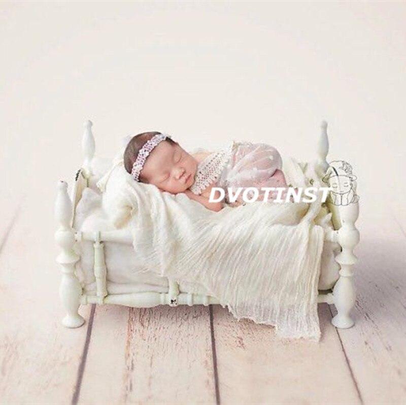 Dvotinst nouveau-né bébé photographie accessoires blanc princesse fer posant lit Fotografia accessoires infantile Studio pousses Photo Prop