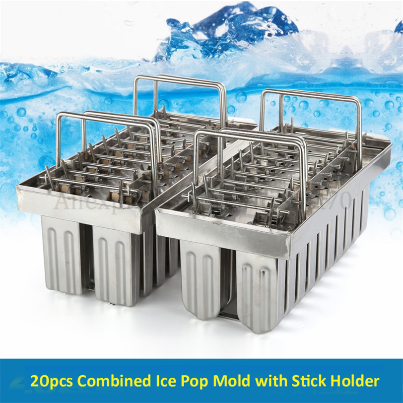 Commercial DIY Popsicle Mould 20pcs/Batch Ice Lolly Moulds Ice-pop Mold 304 Stainless Steel Ice Cream Tool commercial diy popsicle mould 20pcs batch ice lolly moulds ice pop mold 304 stainless steel ice cream tool