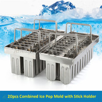 Commercial DIY Popsicle Mould 20pcs/Batch Ice Lolly Moulds Ice pop Mold 304 Stainless Steel Ice Cream Tool
