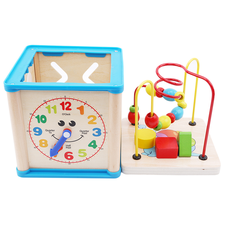 fe19ba6a96b9 2-6 Years Old Wooden Colorful Beads Toy Children Baby Education Puzzle  Intellectual Toy Multifunction Four Sides Treasure Chest