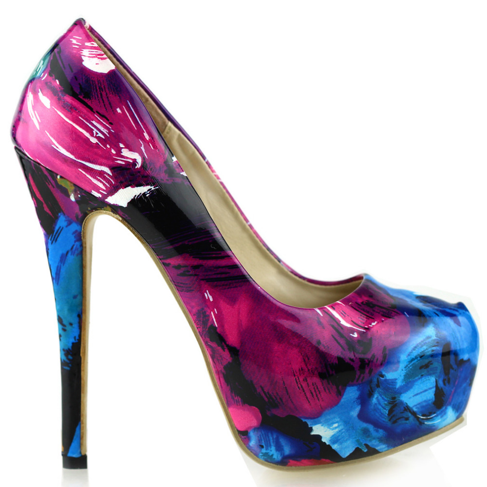 ФОТО LF40502 Sexy Floral Print Patent Stiletto Platform High Heel EVE Night Club Party Pumps