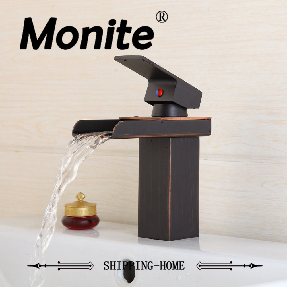 Oil Rubbed Bronze Waterfall Bathroom Basin Sink Brass Mixer Tap Vanity Faucet ORB Finish Wide Spout Water Mixer Tap led glass waterfall spout oil rubbed bronze bathroom basin faucet vanity sink mixer tap