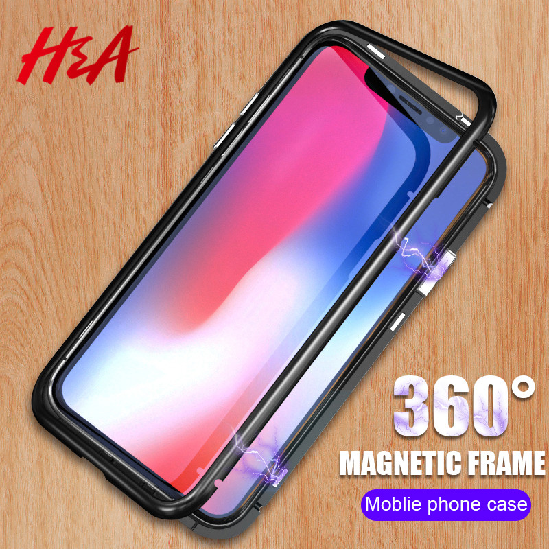 H&A 360 New Magnetic Adsorption Phone Case For iPhone X 8 7 Plus Tempered Glass Protective Case For iPhone 7 8 Plus Glass Cover ...