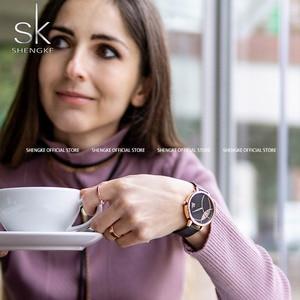 Image 3 - Shengke 여성 패션 시계 크리 에이 티브 레이디 캐주얼 시계 스테인레스 스틸 메쉬 밴드 세련된 Desgin 실버 쿼츠 시계 여성을위한