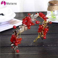 MOLANS 2020 Chinese Red Bridal Crowns Crystals Wedding Tiaras Marriage Flowers Headband Bride Headwear For Women(China)
