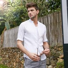 6a660f2d9b67 EC2018 Summer New Casual Shirts Men Breathable 100% Pure Linen Fashiom Three  Quarter Slim Fit