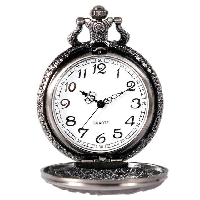 Game of Thrones Stark House Symbol Vintage Pocket Watch Necklace Direwolf Pattern Quartz Pocket Watches Gifts for Men Women 5