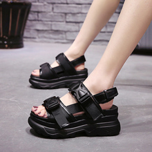 Hot 2019 Summer Sale Leather Platform Sandals Women Womens Chunky Shoes Fashion Buckle Thick Soled Casual Woman Beach