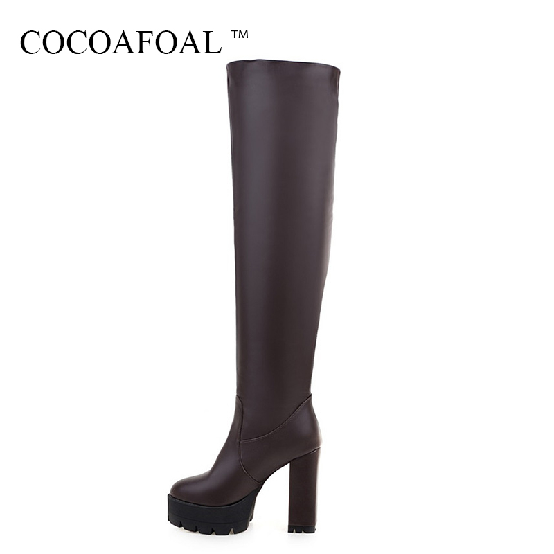 COCOAFOAL Winter Women's Over The Knee Boots Woman Thigh High Boots Blue Sexy Plus Size 43 Sexy Fashion High Heeled Shoes 2018 20cm pole dancing sexy ultra high knee high boots with pure color sexy dancer high heeled lap dancing shoes