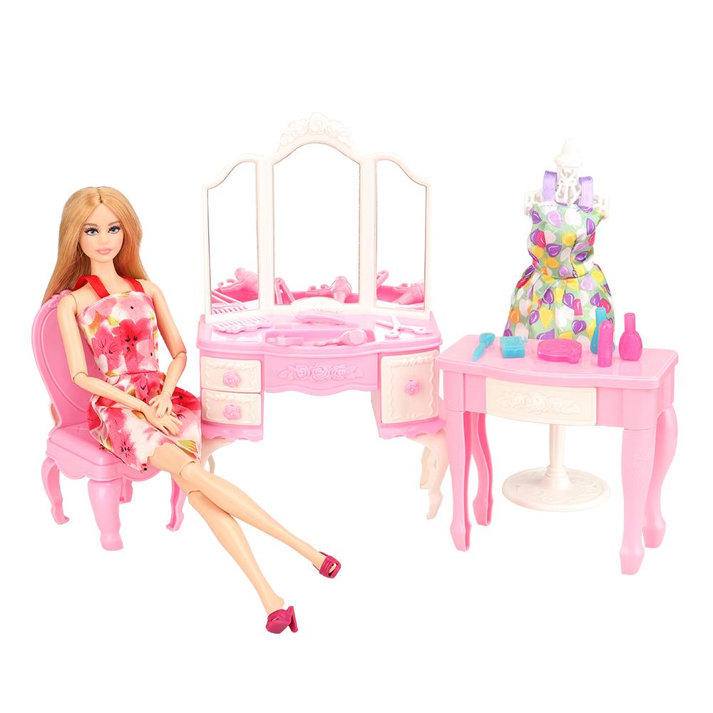 Newest Mix Doll Plastic Furniture 18 Items/lot Dollhouse doll house Accessories dressing table desk For Barbie  Play House