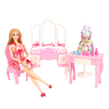 Newest Mix Doll Plastic Furniture 18 Items/lot Dollhouse doll house Accessories dressing table desk For Barbie Doll  Play House random mix 15 pcs set dollhouse miniature food cake donucts macaroons ice cream for barbie doll mini doll accessories