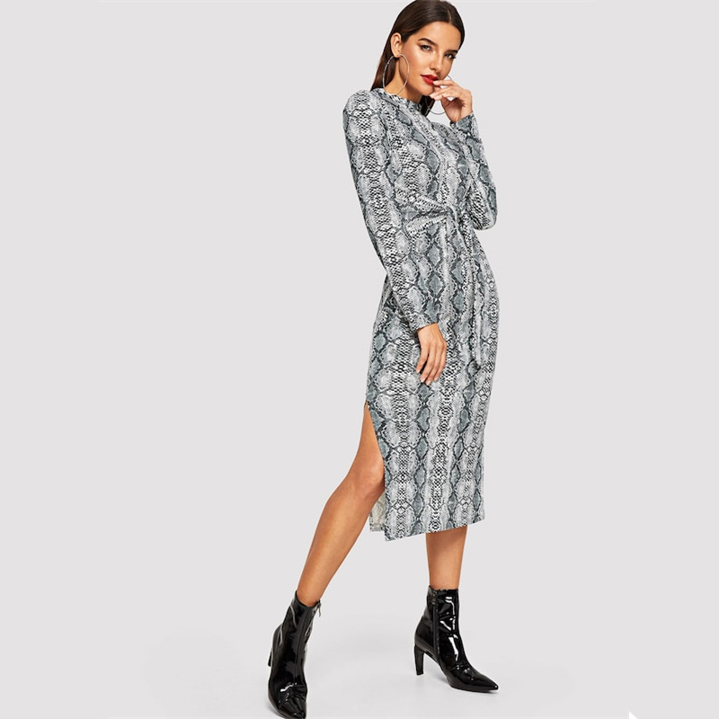 COLROVIE Mock Neck Snake Print Split Long Sleeve Sexy Dress Women Autumn Streetwear Party Dress Bodycon Casual Midi Dresses 15