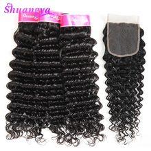 hot deal buy  peruvian deep wave hair 100% human hair bundles with closure 3/4 bundles with closure shuangya remy hair weave bundles
