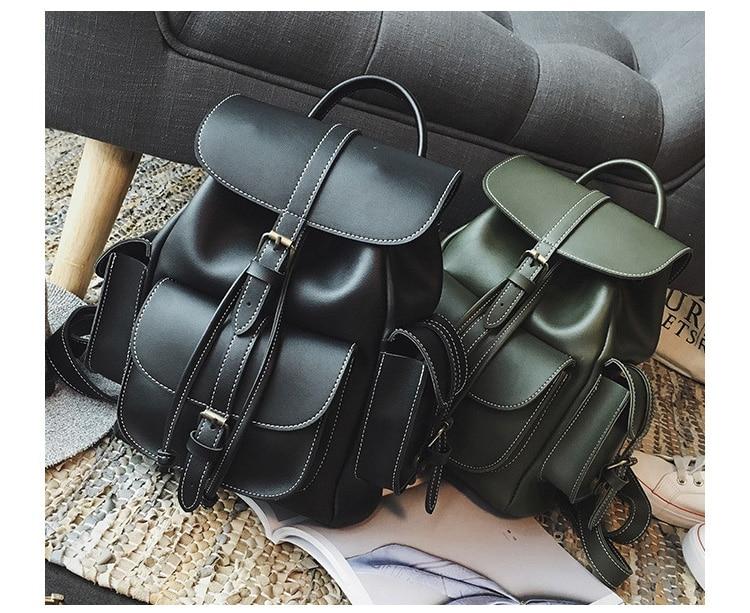 Women Backpack For Girls Drawstring Bookbag Bag School Bagpack For Teenage Girl Army Green Ladies PU Leather Backpacks Female