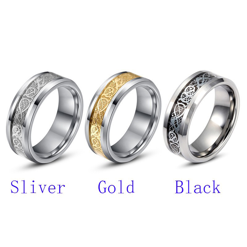 Fine jewelry stainless steel Dragon Ring Mens Jewelry Wedding Band male ring for lovers Valentine present/gift