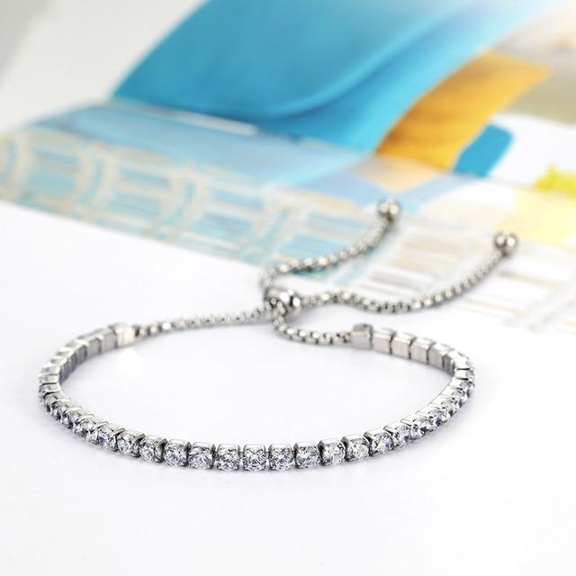 Женский браслет с кристаллами классический регулируемый размер