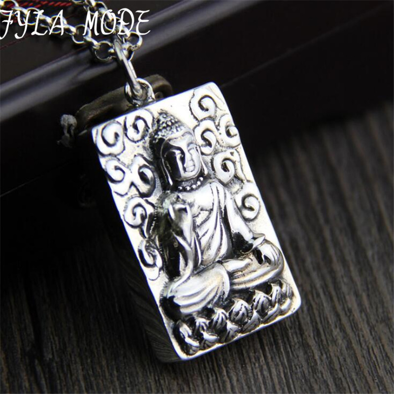 Custom Engraved Sakyamuni Tag Necklaces Pendant Statement S925 Sterling Silver One Side DIY Personalized Men Jewelry 47.3*28.5M