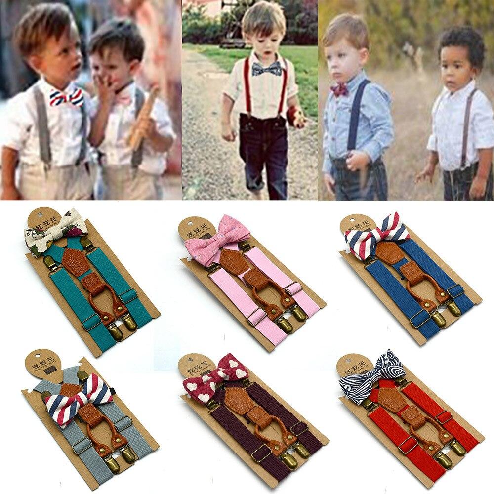 Qualificato Del Bambino Del Ragazzo Bambini Cravatte Set Del Bambino Dei Ragazzi Bretelle Bretelle Di Corrispondenza E Di Lusso Da Sposa Bow Tie Set