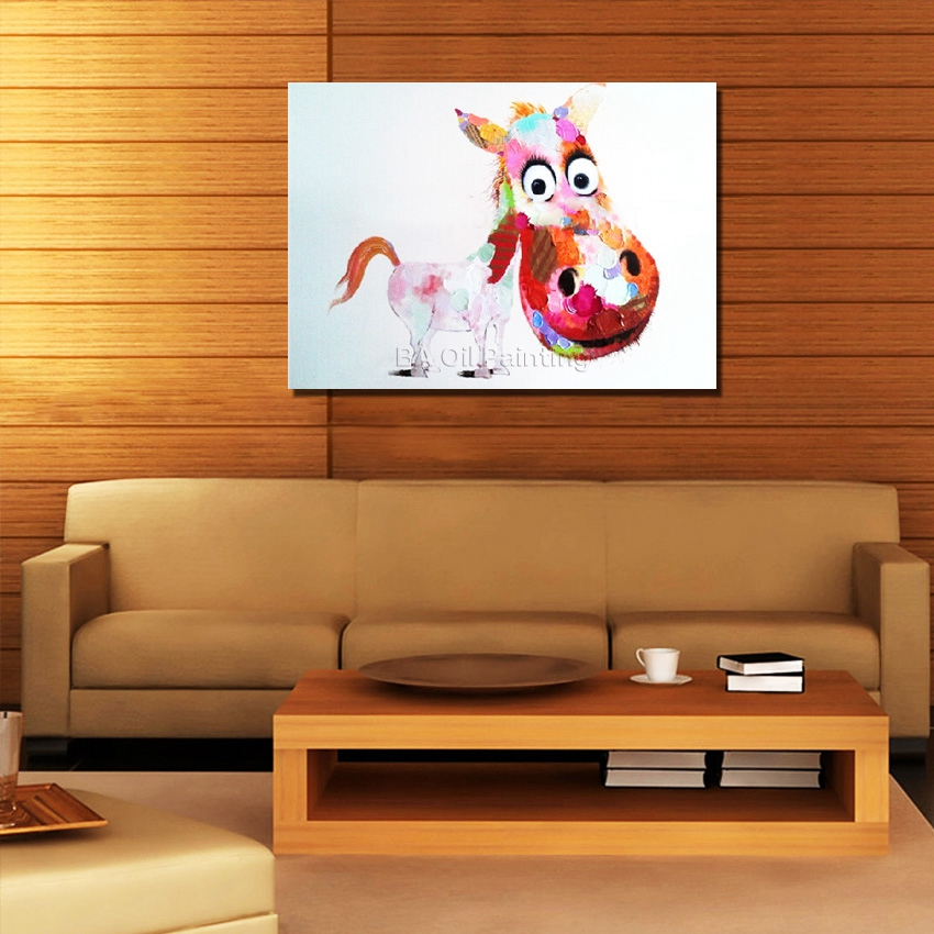 Aliexpress.com : Buy Hand Painted Cute Horse Abstract Oil Painting ...