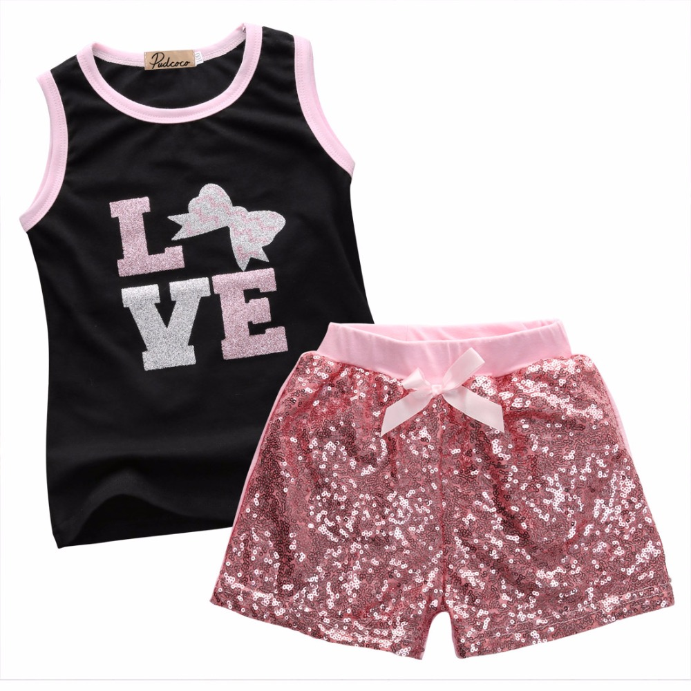 2Pcs Baby Girls Clothes Set 2016 New Fashion Little Girls Summer Vest Top and Sequined Beling Short Pant Kids Children Set new fashion baby girls clothes 2016 kids girls vest top and leopard mesh gown tutu skirt 2pcs summer dress outfit girls sets