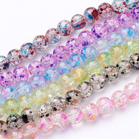 Jewelry Beads Baking Painted Crackle Glass Bead Strands Round Mixed Color 8 8 5x7 5 8mm