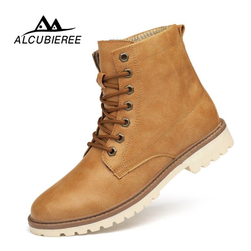 ALCUBIEREE Super Warm Men Winter Leather Men Waterproof Rubber Snow Boots Leisure Boots England Retro Shoes for Men Big Size big size winter warm leisure shoes