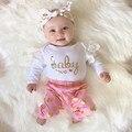 2017 do bebê roupas de menina Flor carta Padrão de manga longa Bodysuit + ouro dots calças 2 pcs terno roupas de bebê recém-nascido menina conjunto