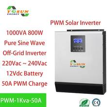 1KA PWM Solar Inverter 800W 12Vdc 220Vac Off Grid Inverter 50A PWM Pure Sine Wave Inverter With Solar Power AC Battery Charger(China)