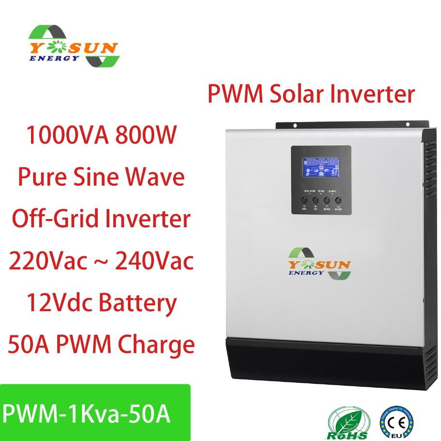 800W PWM Solar inverter 1Kva Off-Grid Inverter 12V zu 230V 50A PWM Inverter Reiner Sinus welle Inverter 20A AC Ladegerät