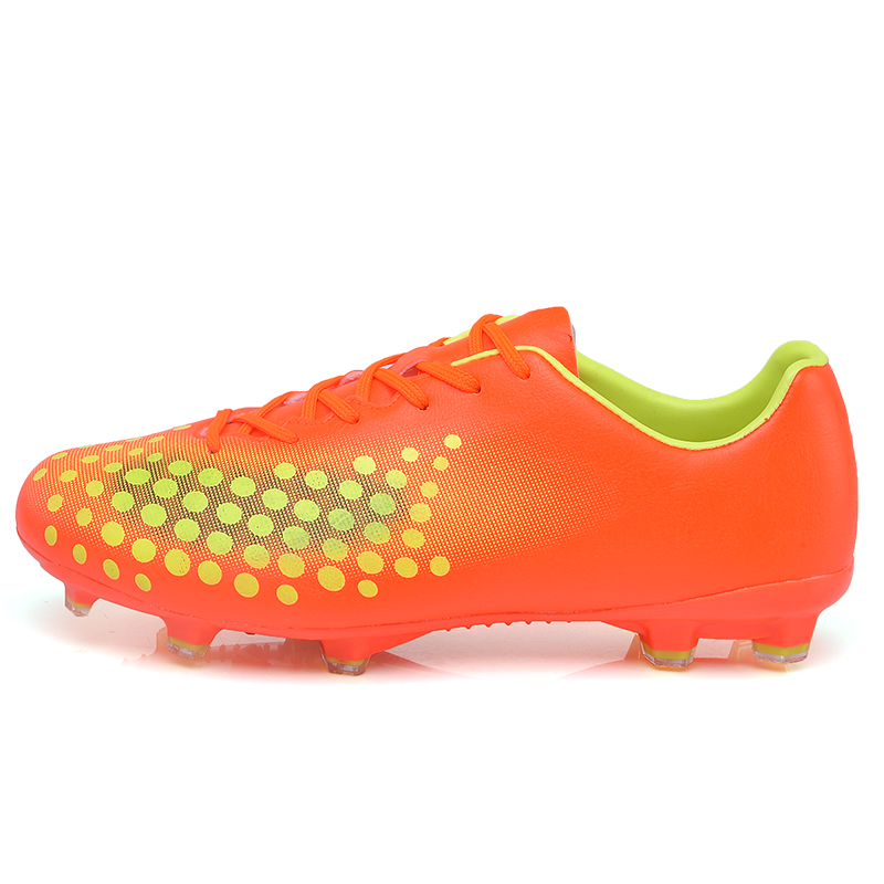 MAULTBY Men s Yellow Orange AG Sole Outdoor Cleats font b Football b font Boots Shoes