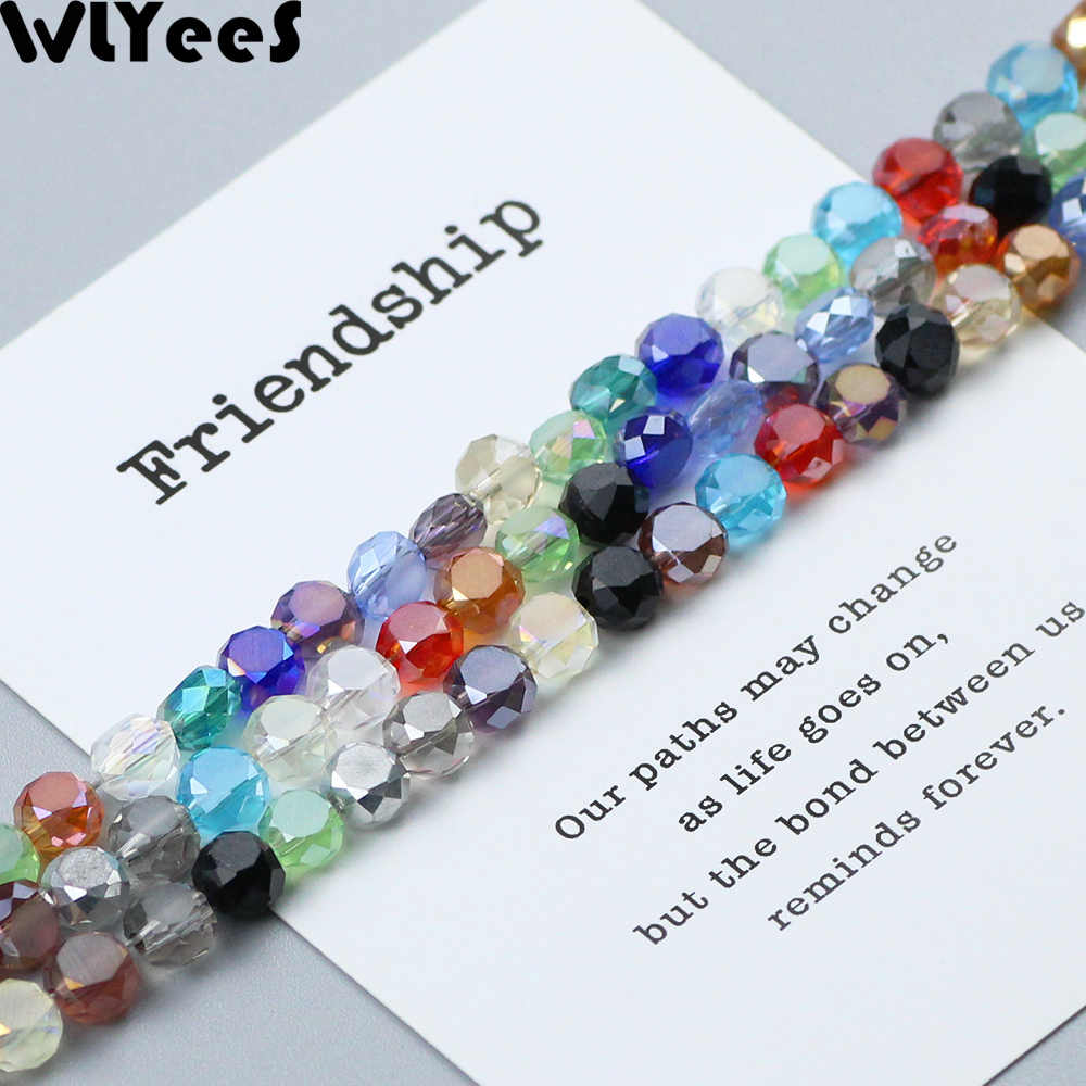 WLYeeS 6*4mm Bread Shape Austrian crystal Beads Faceted Glass Flat Bead For Women DIY Jewelry Bracelet Making Accessories Making