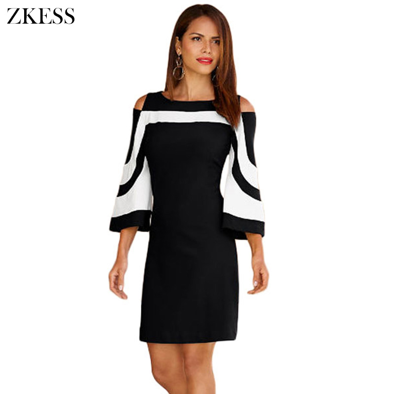 zkess women black white color block office mini dress sexy. Black Bedroom Furniture Sets. Home Design Ideas