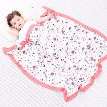 Муслиновые пеленки для младенцев, одеяло из хлопка и бамбука, фиолетового цвета, четыре слоя Адена