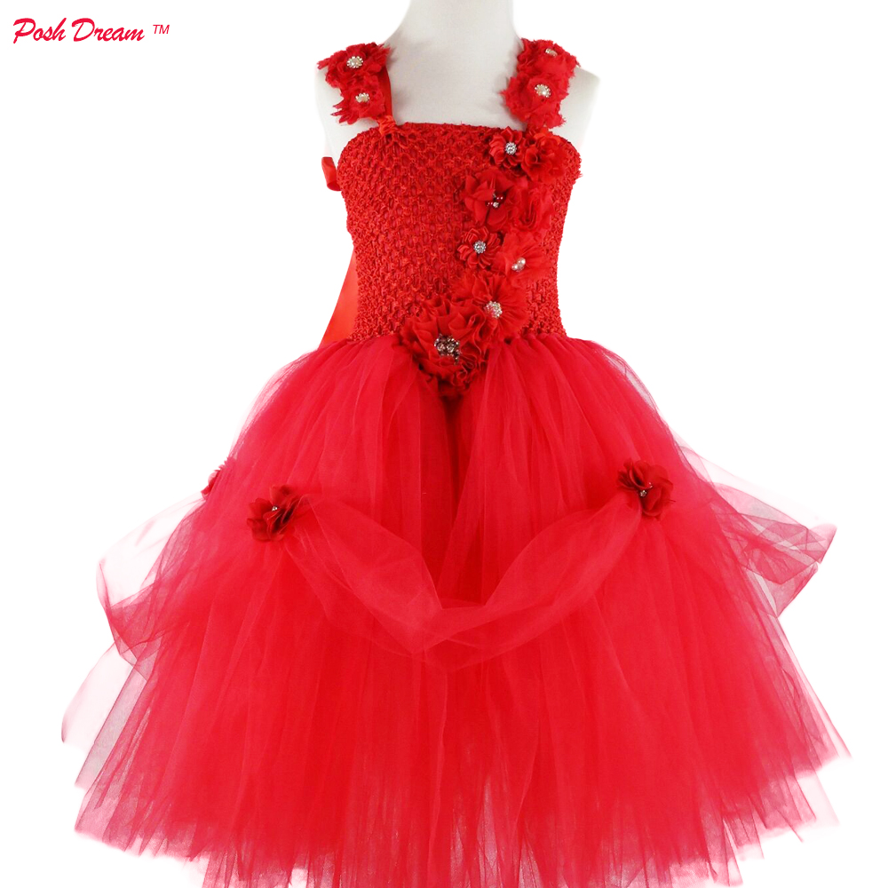 POSH DREAM Red Flower Casual Kids Girls Christmas Clothing Ankle Length Red Baby Girls Tulle Tutu Dresses Christmas Kids Clothes