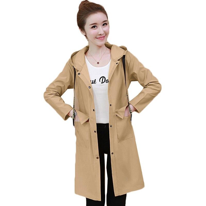 Spring Autumn Fashion Long Trench Coat Women Hooded Single-breasted Thin Windbreaker 2019 Female Korean Casual Elegant Overcoat 28