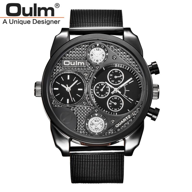 Prix pour Marque de luxe Conception Oulm Montres Hommes En Acier Plein Quartz-montre Antique Mâle Occasionnel Montre-Bracelet Militaire relojes hombre 2017