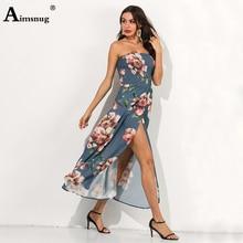 Plus Size 3xl Boho High Split Hem Flower Print Strapless Fold Backless Women Summer Dress 2019 New Big Swing Female The Dress plus split hem solid cami dress