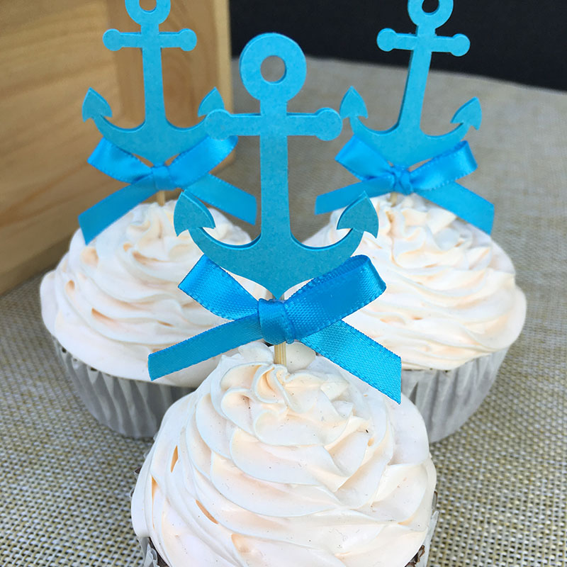 Custom Bow U0026 Blue Nautical Anchor Cupcake Toppers Baby Shower/Boyu0027s  Birthday Party Favors Decoration