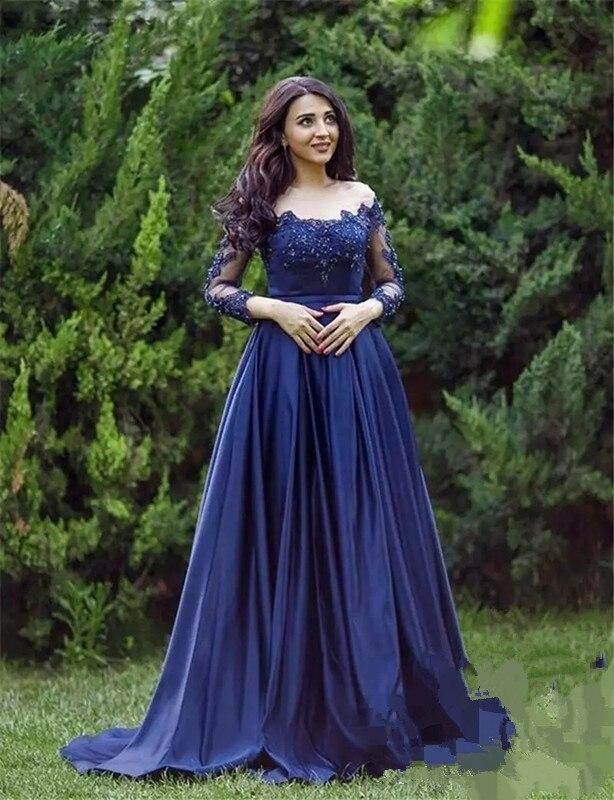 2019 Applique Beading Querida Decote A linha Custom Made Vestido de Noite Do Vintage Laço azul Sem Mangas Vestidos de Baile