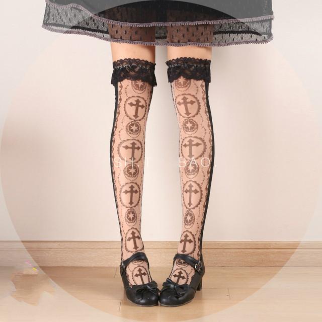 Princesa gótico lolita estocando Japão original HARAJUKU renda preta cruz de vidro Preto tiras cruzadas meias Halloween LKW300