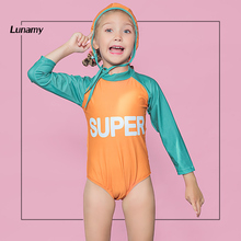 85afb3e712 Lunamy 2018 Girl's Long Sleeved One Piece Swimsuit Patchwork Print Kids  Swimwear Quick Drying Swimmer Suit With Swimming Cap