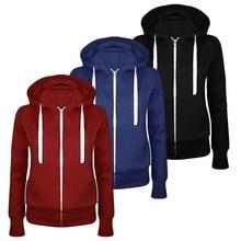 Hot New Winter Autumn Women Hoodies Sweatshirt Casual Hooded Hoody Jacket Zipper Pocket Sweatshirts Tracksuit Outwear