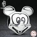 Regalo de Plata de ley 925 Amante Lindo Mickey Forma Encantos y Los granos Fit Pandora Pulsera y el Collar de Accesorios de La Joyería S196